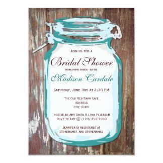"Country Mason Jar Rustic Bridal Shower Invitations 4.5"" X 6.25"" Invitation Card"