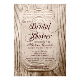 Country Mason Jar Rustic Bridal Shower Invitations Personalized Invites