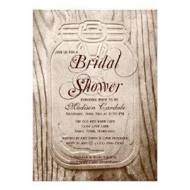 Bon Country Mason Jar Rustic Bridal Shower Invitations Personalized Invites