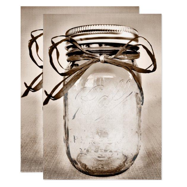 Country Mason Jar Rustic Invitation Blank Template | Zazzle