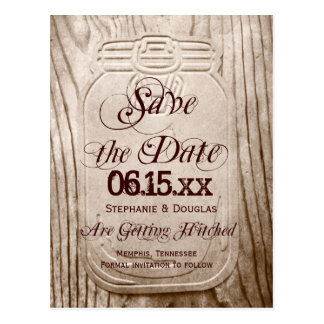 Country Mason Jar Rustic Save the Date Postcards