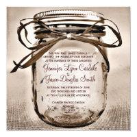 Country Mason Jar Rustic Square Wedding Invitation