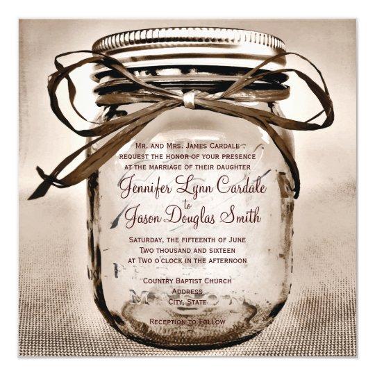Wedding Invitations Mason Jar: Country Mason Jar Rustic Square Wedding Invitation