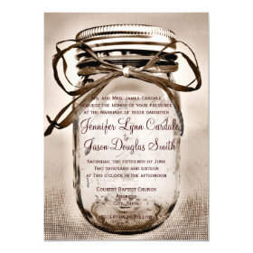 Country Mason Jar Rustic Wedding Invitations