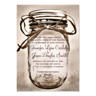 Country Mason Jar Rustic Wedding Invitations 4.5