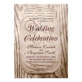 Country Mason Jar Rustic Wood Wedding Invitations Personalized Announcements
