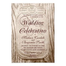 Country Mason Jar Rustic Wood Wedding Invitations 4.5