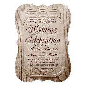 Country Mason Jar Rustic Wood Wedding Invitations