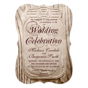 Country Mason Jar Rustic Wood Wedding Invitations 5