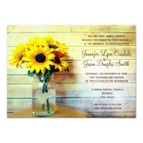 Country Mason Jar Sunflower Wedding Invitations