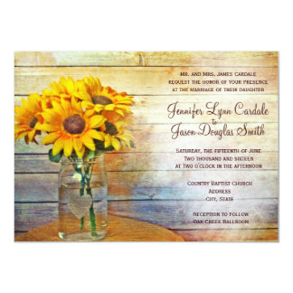 Country Mason Jar Sunflower Wedding Invitations Custom Invites