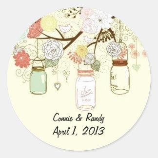 Country Mason Jar Wedding Stickers Round Sticker