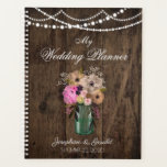 "Country Mason Jar Wood Flower Wedding Planner<br><div class=""desc"">This is a beautiful wedding design featuring flowers in a mason jar against a wood background. For further customization, please click the &quot;Customize it&quot; button and use our design tool to modify this template. All text style, colors, sizes can be modified to fit your needs. Check here for all of...</div>"