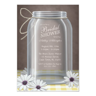 "Country Mason Jar Yellow Gingham Bridal Shower 5"" X 7"" Invitation Card"