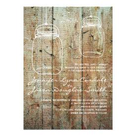 Country Mason Jars Barn Wood Wedding Invitations Personalized Invite