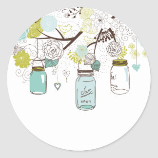 Country Mason Jars Blue Flowers Classic Round Sticker