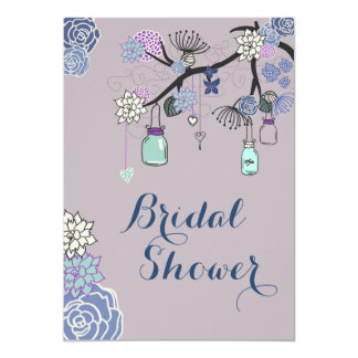 Country Mason Jars Floral Tree Bridal Shower 5x7 Paper Invitation Card