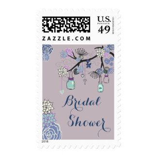 Country Mason Jars Floral Tree Bridal Shower Stamps