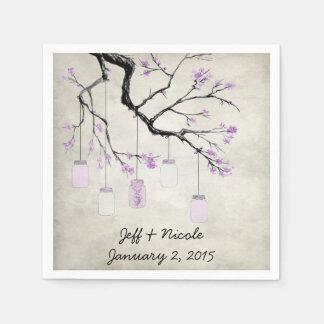 Country Mason Jars in Lavender Wedding Paper Napkin