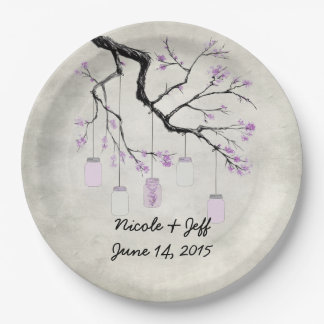 Country Mason Jars in Lavender Wedding Paper Plate