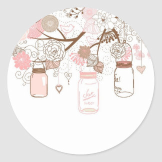 Country Mason Jars Pink Flowers Classic Round Sticker