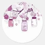 Country Mason Jars Purple Flowers Stickers