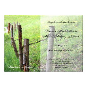 Country Meadow Rustic Fence Wedding Invitation