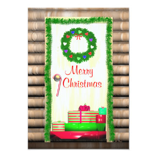 Country Merry Christmas Door Greeting Card