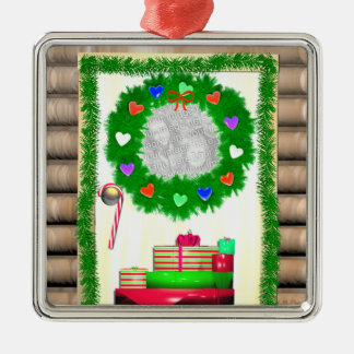 Country Merry Christmas Door (photo frame) Metal Ornament