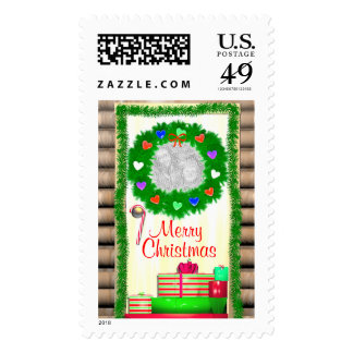 Country Merry Christmas Door (photo frame) Postage