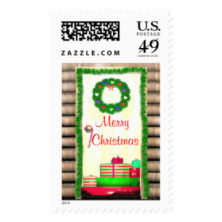 Country Merry Christmas Door Postage Stamp