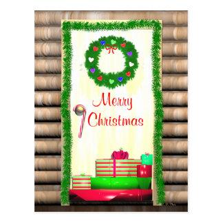 Country Merry Christmas Door Postcard