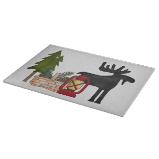 Country Moose glass cutting board
