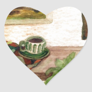 Country Morning Coffee Art Designer Products Heart Sticker