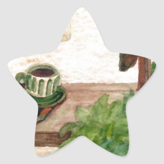 Country Morning Coffee Art Designer Products Star Sticker