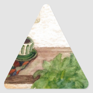Country Morning Coffee Art Designer Products Triangle Sticker