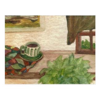 Country Morning Coffee CricketDiane Coffee Art Postcard
