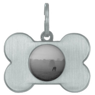 Country Morning Grayscale Pet ID Tag
