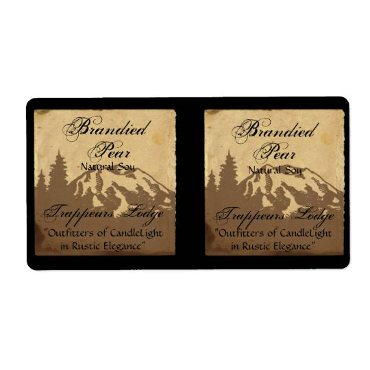 Country Mountain Range on Parchment Candle Label