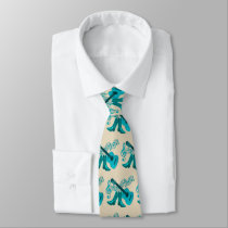 Country Music Blue Guitar Cowboy Boots Neck Tie