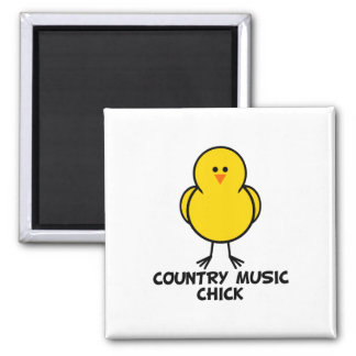 Country Music Chick 2 Inch Square Magnet