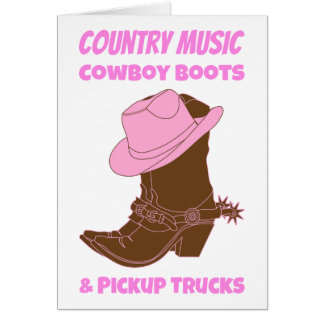 Country Music Cowboy Boots Pickup Trucks Card