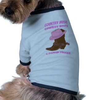 Country Music Cowboy Boots Pickup Trucks Dog Tshirt
