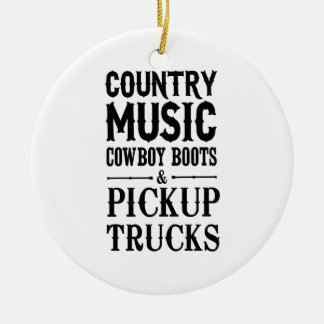Country Music, Cowboy Boots & Pickup Trucks Double-Sided Ceramic Round Christmas Ornament
