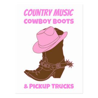 Country Music Cowboy Boots Pickup Trucks Postcard