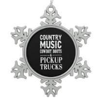 Country Music, Cowboy Boots & Pickup Trucks Snowflake Pewter Christmas Ornament