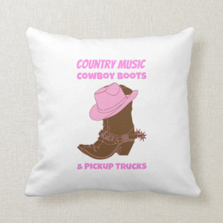 Country Music Cowboy Boots Pickup Trucks Throw Pillow