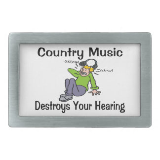 Country Music Destroys Your Hearing Rectangular Belt Buckle