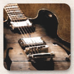 Country Music Guitar On Leather Background Beverage Coaster