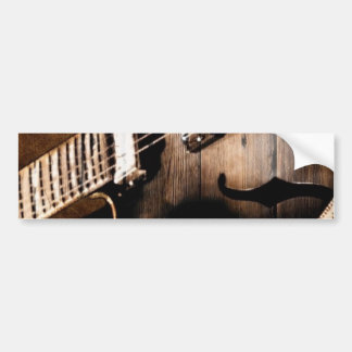 Country Music Guitar On Leather Background Bumper Stickers